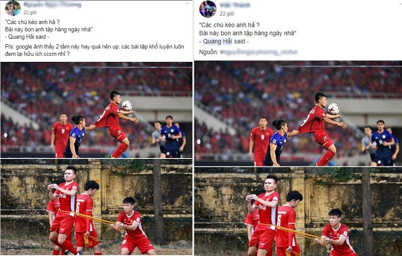 Khoảnh khắc Quang Hải bị cầu thủ Philippines kéo áo được chia sẻ rầm rộ trên mạng xã hội.
