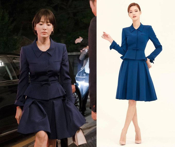 Bộ trang phục công sở thoạt nhìn giống một chiếc đầm liền thân, nhưng thực chất bao gồm áo và chân váy riêng biệt của Avouavou có giá lần lượt khoảng 19 và 14 triệu đồng. So với bản gốc do mẫu ảnh chụp, dễ dàng nhận thấy chân váy được Song Hye Kyo diện có phần ngắn hơn.