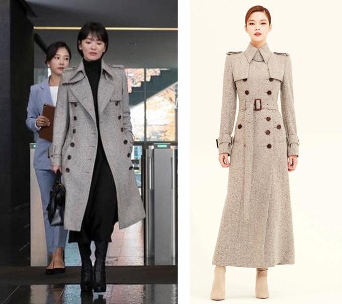 Nữ diễn viên khéo léo cắt bớt phần đuôi áo khoác dáng dài của thương hiệuAvouavou tạo hiệu ứng chân'kéo dài' . Chiếc áo mang phong cách menswear này có giá hơn 36 triệu đồng.