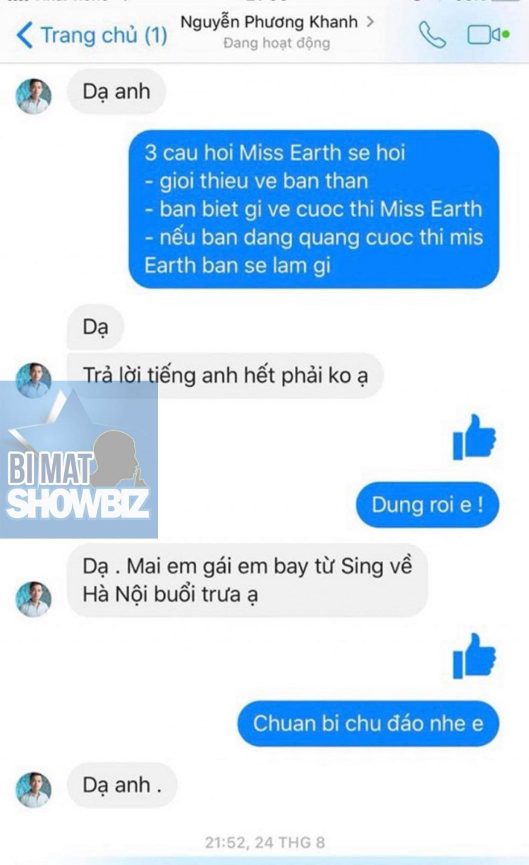 Đoạn tin nhắn báo trước câu hỏi cho anh trai Phương Khánh. (Nguồn: Bí mật showbiz)