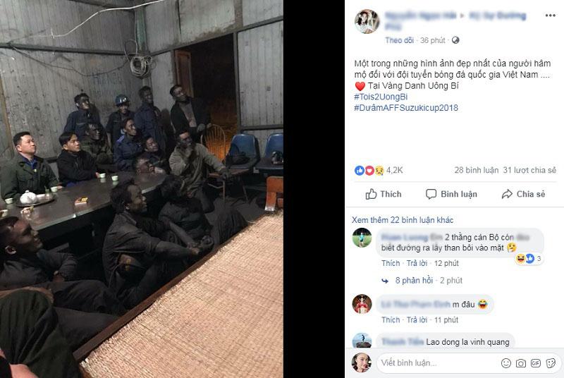 Khoảnh khắc nhóm thợ mỏ ngồi chăm chú xem bóng đá nhận được 'bão' like.