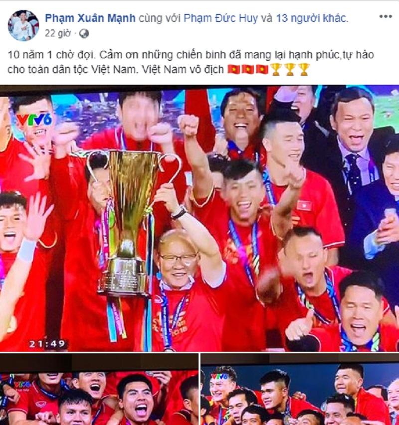Bài đăng gắn thẻ các đồng đội chúc mừng chiến thắng tối qua của Xuân Mạnh