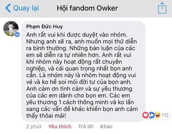Nhừng lời chia sẻ đáng yêu của Đức Huy dành cho fan hâm mộ.