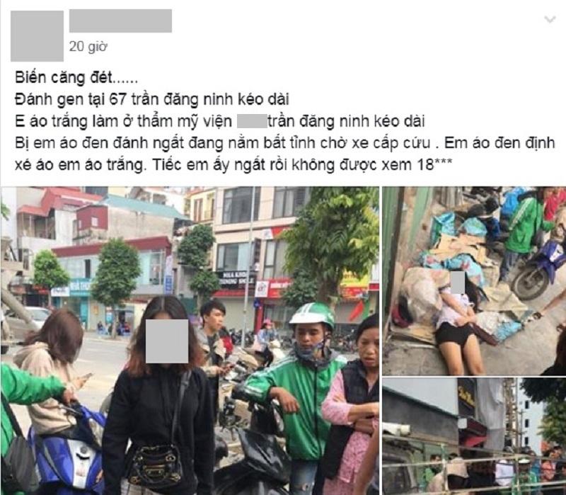 Bài đăng về vụ đánh ghen tại đường Trần Đăng Ninh