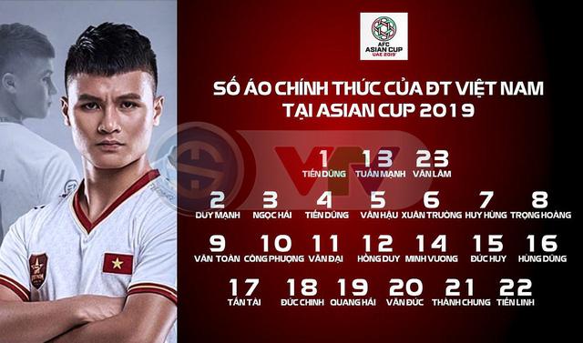 Số áo chính thức của ĐT Việt Nam tại Asian Cup 2019