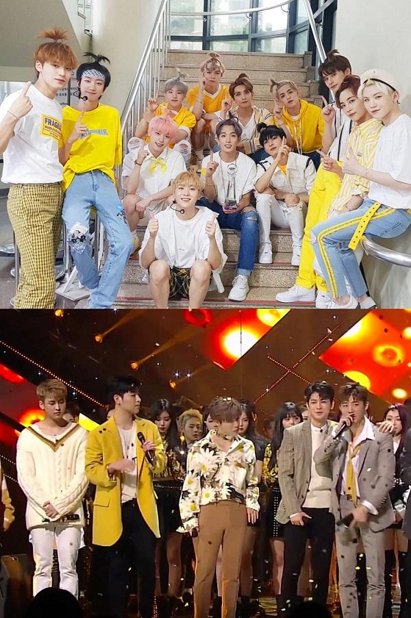 iKON và Seventeen là hai nhóm nhạc nam đi đầu xu hướng diện mốt vàng. Người năng động, trẻ trung trong những chiếc áo phông, hoodie vàng, kẻ sang trọng, thời thượng trong trang phục blazer, quần skinny.