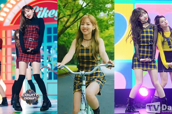Đây cũng là loại thời trang ưa thích của Nayeon (Twice). Cô thường xuyên diện trang phục caro cả trên sân khấu lẫn ngoài đời thường.