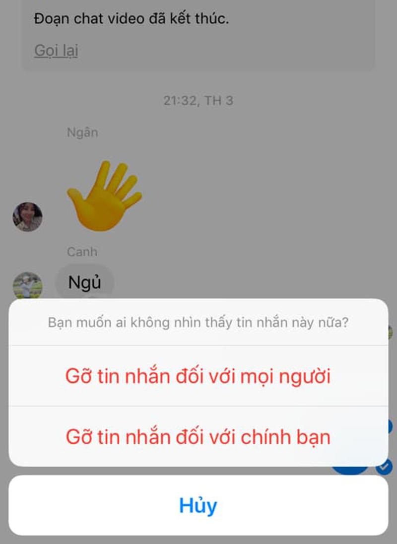 Thao tác gỡ tin nhắn trên messenger. (Ảnh: Nhắng)