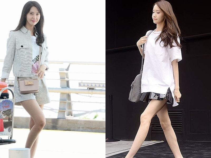 Yoona thường để lộ khuyết điểm là đôi chân cong