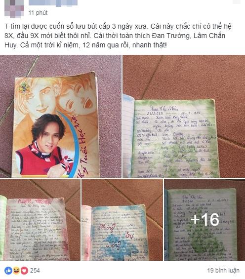 Hình ảnh cuốn sổ lưu bút gắn liền với thế hệ 8X được chủ nhân chia sẻ, nhanh chóng thu hút nhiều lượt like và bình luận rôm rả từ các cư dân mạng