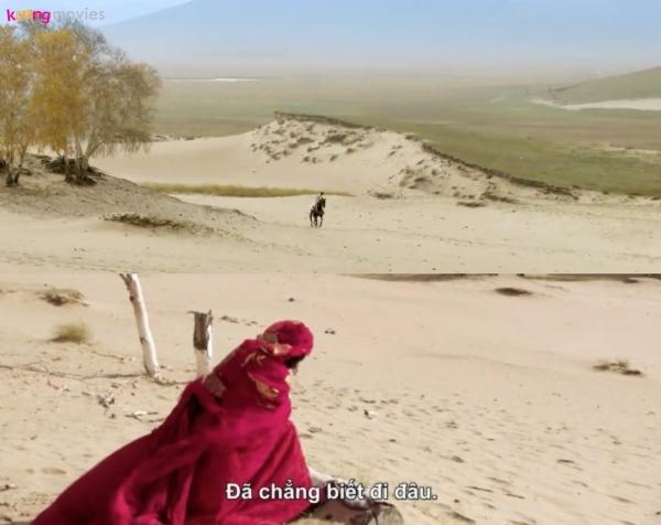 Khoảnh khắc Tiểu Phong trong trang phục đỏ rực, ngồi giữa cồn cát và bất chợt nhìn thấy Lý Thừa Ngân phi ngựa đến trở thành một trong những cảnh ấn tượng nhất của phim vì quá đẹp và đậm chất thơ.