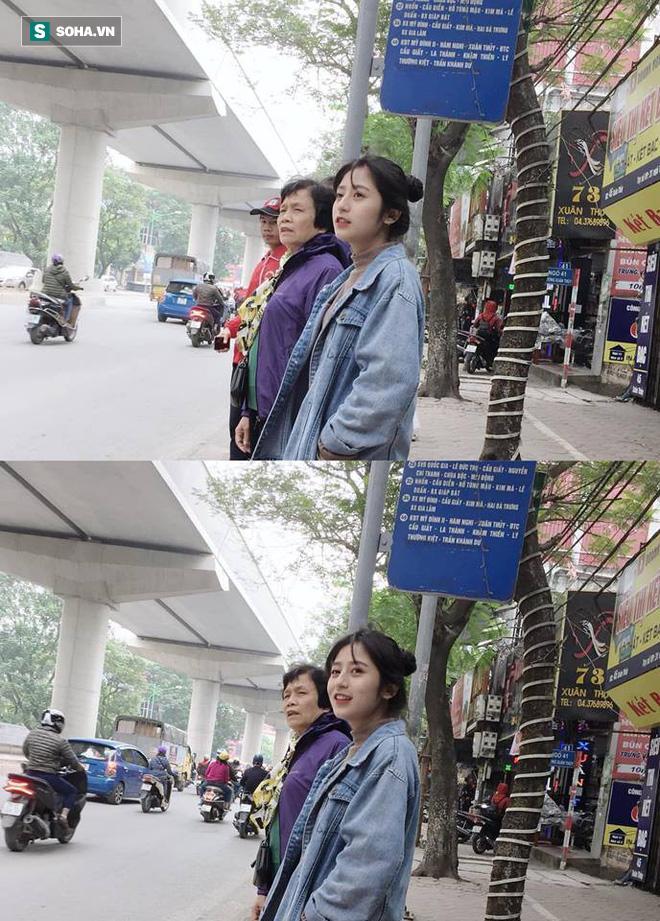 Nữ sinh viên với bức ảnh chờ xe buýt ở Hà Nội.