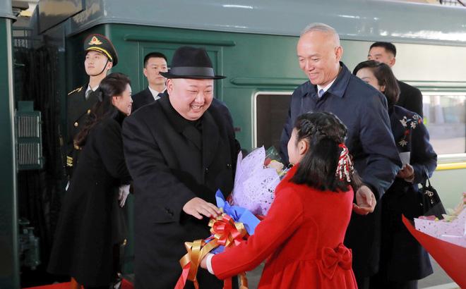 Chủ tịch Triều Tiên Kim Jong-un từng đi tàu hỏa thăm Trung Quốc. Ảnh: KCNA.