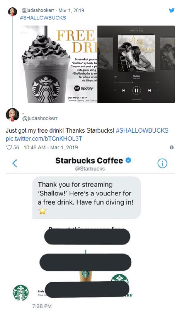 Chiến dịch giả mạo Starbucks để đưa Shallow lên No.1 của người hâm mộ.