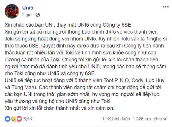 Thông báo chính thức trên Fanpage của Uni5.