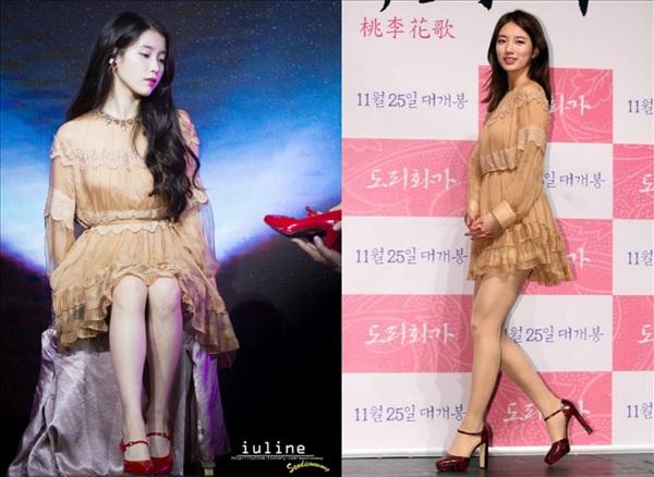 Là đôi bạn thân nổi tiếng của showbiz Hàn nên dường như ở việc chọn trang phục, IU và Suzy cũng 'tâm linh tương thông' với nhau: chọn váy cùng kiểu dáng, cùng phối với giày cao gót đỏ. Với mái tóc xoăn nhẹ, IU nhìn tựa như một cô công chúa thực thụ, trong khi Suzy lại 'lép vế' hơn đôi chút khi chọn kiểu tóc hơi xuề xòa.