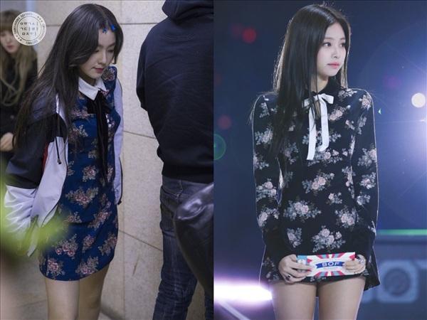 Có vẻ như các cặp bạn thân nổi tiếng của showbiz Hàn đều thích 'mặc chung đồ' với nhau, trong đó có Irene (Red Velvet) và Jennie. Cùng một chiếc váy của thương hiệuNot Your Rose, hai cô gái lại mang đến những cảm giác khác nhau: Irene dịu dàng, nữ tính, Jennie kiêu sa, sang chảnh.