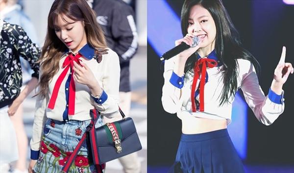 Từng được mệnh danh 'Gucci sống' nhưng Jennie vẫn khó phân thắng bại với đàn chị Tiffany khi diện cùng kiểu áo. Nhờ cách cắt xén táo bạo, Jennie trông trẻ trung hơn so với Tiffany, nhưng thành viên SNSD cũng không vừa khi 'chặt đẹp' đàn em nếu xét trên sự nữ tính, dịu dàng.