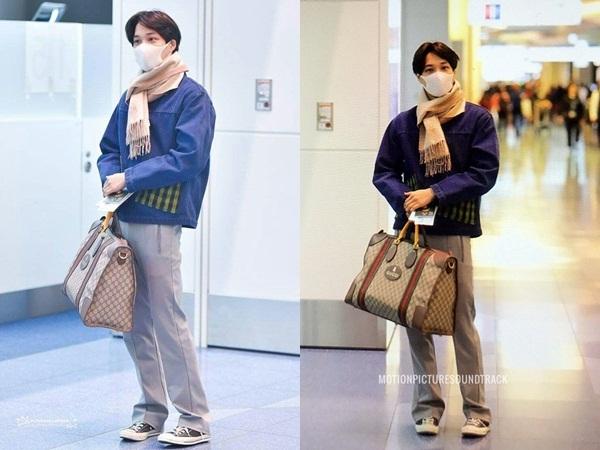 Chỉ với áo khoác denim, quần âu, sneaker, khăn quàng cổ… mỹ nam EXO tự tin lăng xê mốt túi xách 'không phân biệt giới tính' của Guccci.