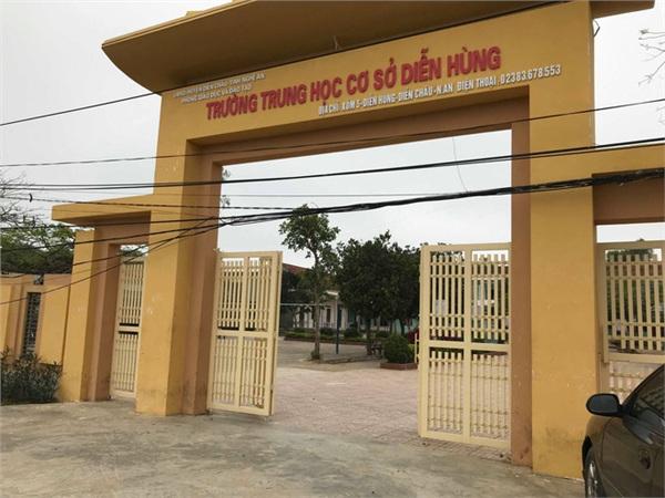 Trường THCS Diễn Hùng nơi 2 em Tr và Th. đang theo học.