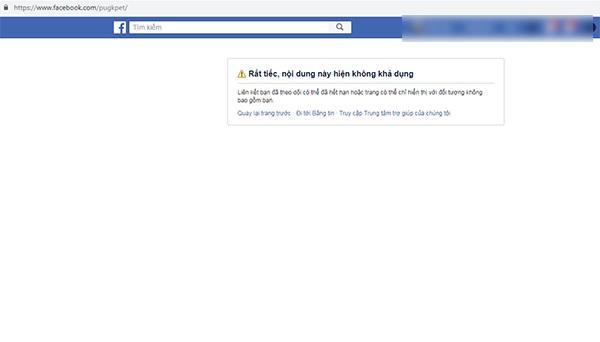 Đường link fanpage mà Khoa Pug chia sẻ trên kênh youtube chính thức của anh đã không thể truy cập.