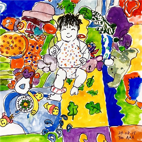Gia đình sống tứ xứ, vợ chồng cụ ông vẽ hàng nghìn bức tranh 'kể chuyện' cho con cháu trên Instagram làm lay động MXH 7