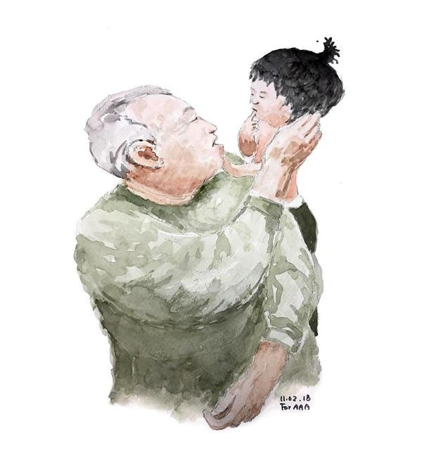 Gia đình sống tứ xứ, vợ chồng cụ ông vẽ hàng nghìn bức tranh 'kể chuyện' cho con cháu trên Instagram làm lay động MXH 5