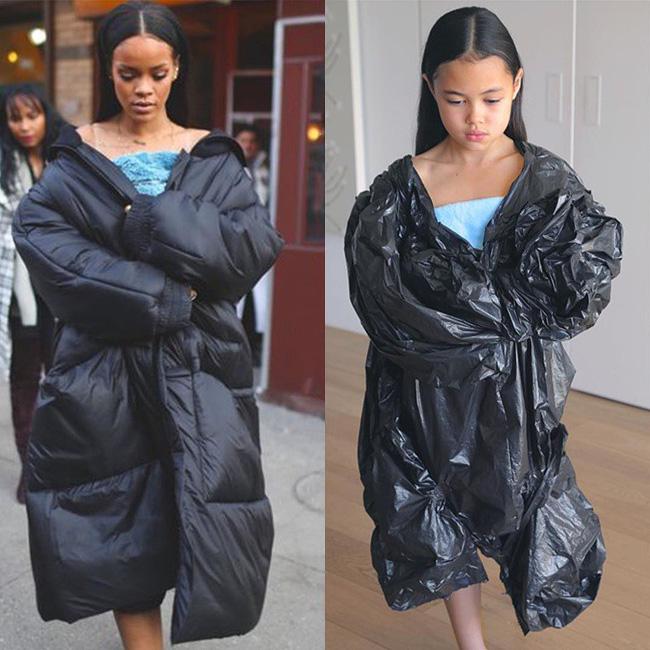 Em xin lỗi nhưng em không có ý định ví chiếc áo khoác hàng hiệu của chị như chiếc túi nilon em đang mặc nhưng nó giống thật!