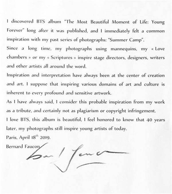 Tuyên bố chính thức của nhiếp ảnh gia người Pháp từng cáo buộc BTS ăn cắp ý tưởng của mình.
