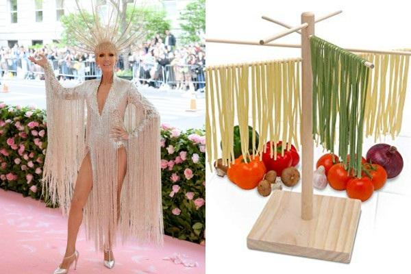 Xiêm y tua rua lộng lẫy biến Celine Dion thành một bà hoàng cũng bị cho là… giá treo rau củ quả.
