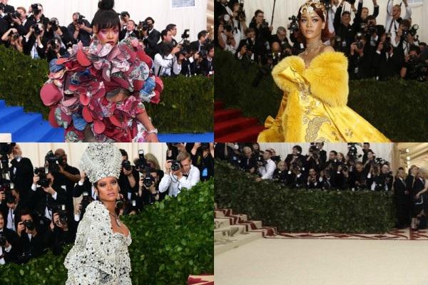Xin giới thiệu hình ảnh của Rihanna qua các mùa Met Gala, đến 2019 Rihanna vẫn tỏa sáng ngời ngời nhỉ? Thực ra, cô ta có đến dự đâu.