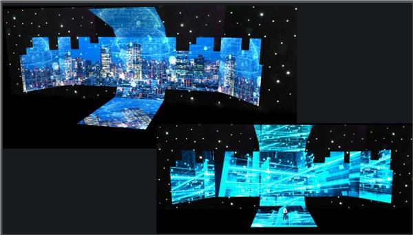 Sân khấu chính của sự kiện với màn hình led rộng 500m2 hình 2 chữ C lồng vào nhau.