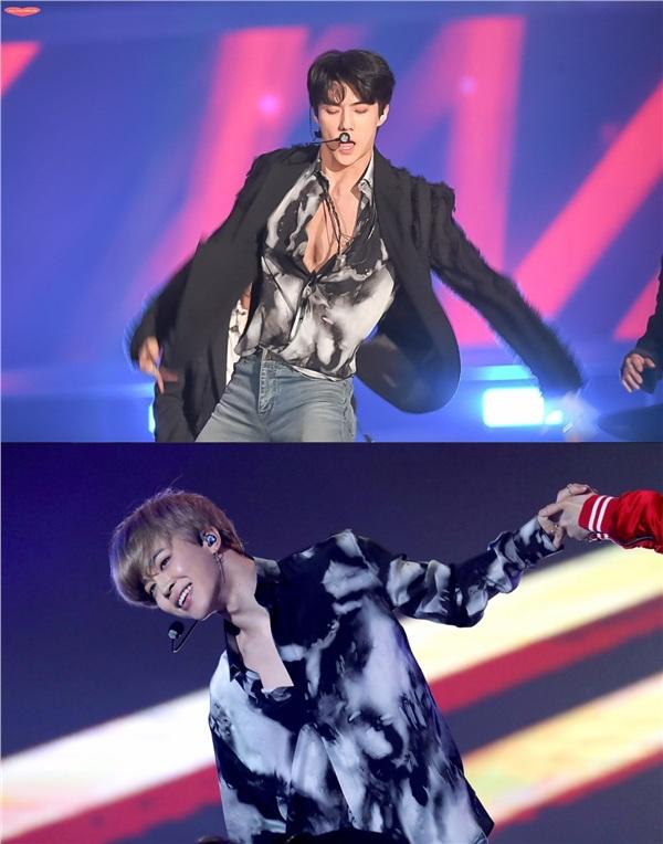 Sau vô số lần đụng hàng trước đó, thành viên của EXO và BTS đã lần đầu có cuộc đụng độ trực diện tại lễ trao giảiMelon Music Awards 2017. Cả hai đều diện cùng một chiếc áo sơ mi giá chục triệu của thương hiệuSenrolan khilên sân khấu biểu diễn.