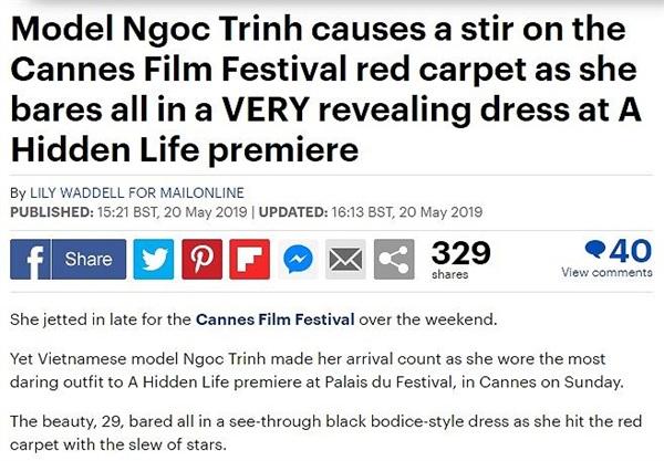 Daily Mail lên bài về Ngọc Trinh với trang phục hở bạo