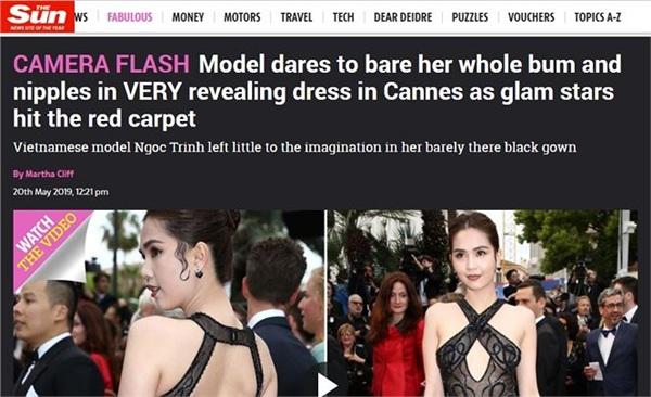 The Sun: 'Người mẫu dám lộ toàn bộ ngực dưới chiếc váy siêu hở tại Cannes trong khi các ngôi sao nổi tiếng sải bước trên thảm đỏ'