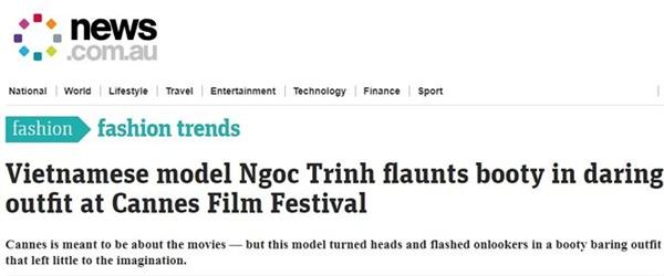 News.com.au: 'Người mẫu Việt Ngọc Trinh khoe vòng ba trong bộ trang phục táo bạo tại LHP Cannes'