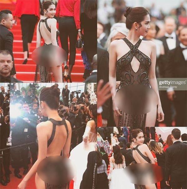 Chiếc váy hở bạo của Ngọc Trinh tại Cannes