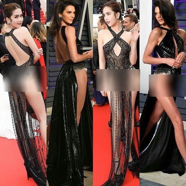 Đầm 'mặc như không mặc' của Ngọc Trinhbị nghi là hàng nhái của Kendall Jenner.