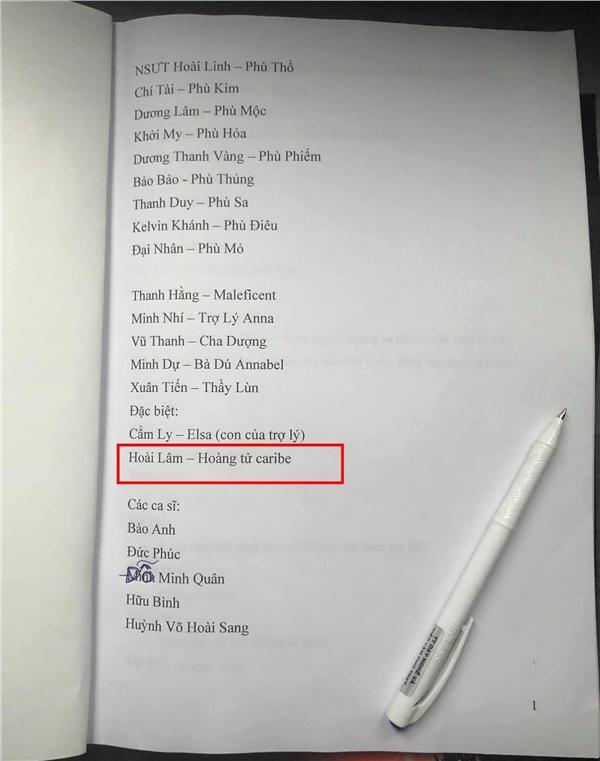 Tên Hoài Lâm xuất hiện trong danh sách nghệ sĩ biểu diễn ở liveshow của NSƯT Hoài Lâm.