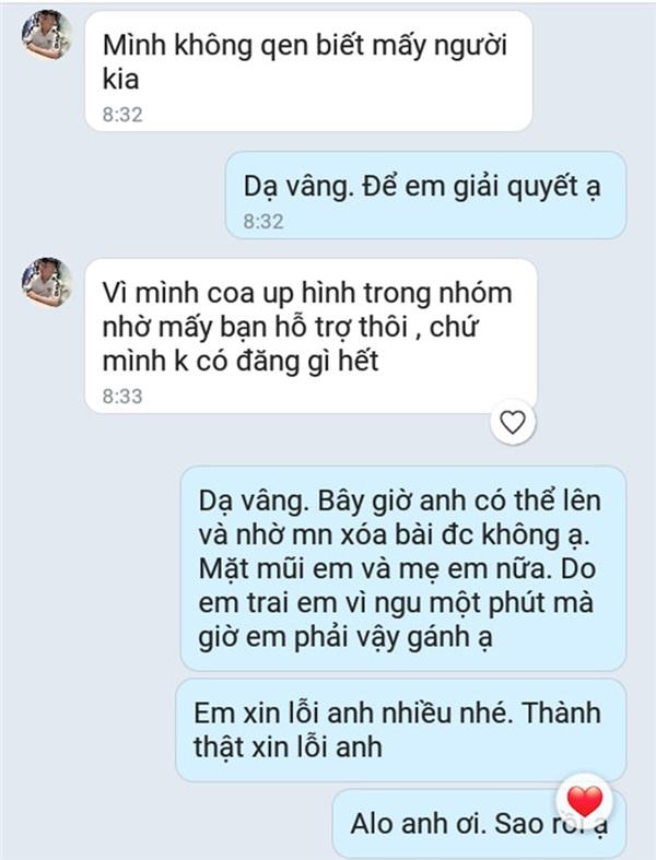 Những tin nhắn giữa cô và bên phía shipper nhằm giải quyết hậu quả vụ 'boom' hàng