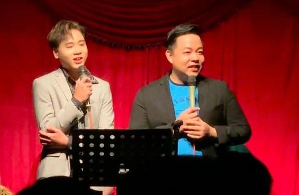 Quang Lê và con trai nuôi Bùi Quang Nhật.
