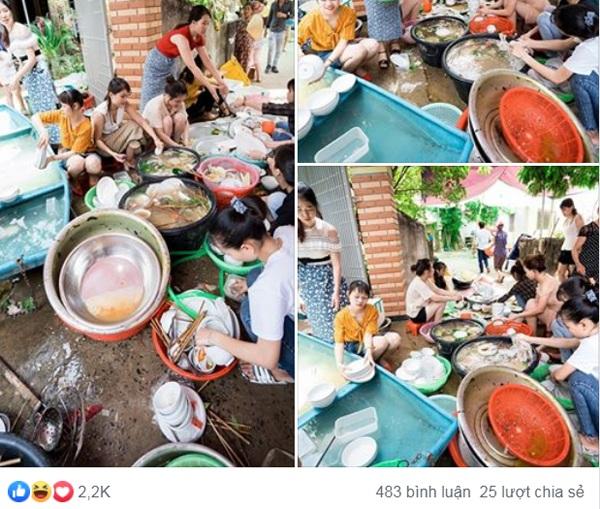 Những hình ảnh được cho là cô dâu Nghệ An rửa bát cùng bạn bè sau đám cưới được đăng tải trên MXH gây xôn xao.