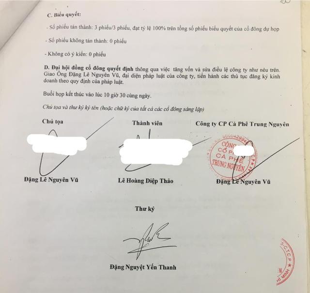 Dòng chữ 'Công ty CP Cà Phê Trung Nguyên'