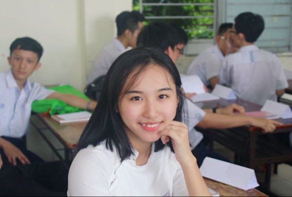 Chân dung nữ sinh đạt điểm 10 Hóa duy nhất ở Tp. Hồ Chí Minh.
