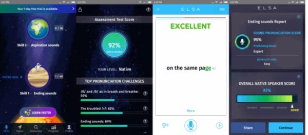 Giao diện ứng dụng ELSA Speak