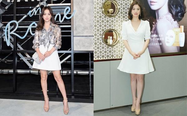Từ giày mũi tròn, mũi nhọn và sandal cao gót,... Song Hye Kyo không thiếu một kiểu dáng nào, chỉ duy nhất màu sắc là ít thay đổi