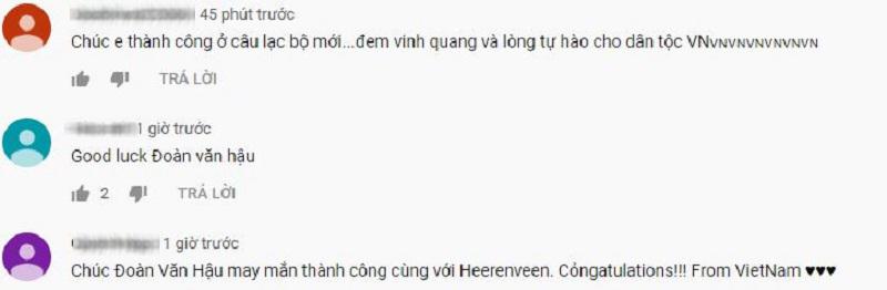 Xuất hiện rất nhiều bình luận cả tiếng Việt và tiếng Anh dưới video của Văn Hậu