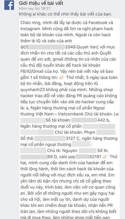 Bạn gái Duy Mạnh mất tài khoản 5 ngày, hacker lấy được món tiền lớn, nhưng thái độ cực 'gắt' của Quỳnh Anh mới đáng chú ý 1