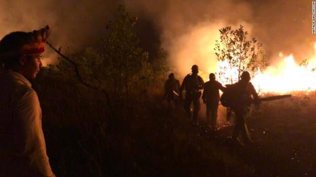 Những người lính cứu hỏa Tenharim xông pha chiến đấu với giặc lửa. Nguồn: CNN
