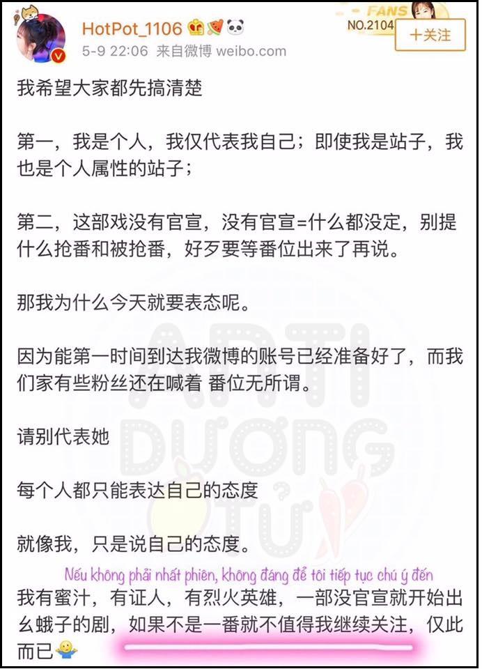 Phát ngôn gây tranh cãi của đại fan Dương Tử (nguồn: FB Anti Dương Tử)